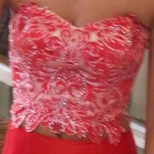 Red prom dress by Tiffany.